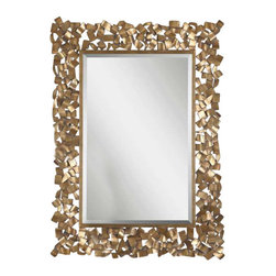 """Uttermost Capulin Antique Gold Mirror - Welded metal strips finished in an antiqued gold leaf with a light gray glaze. Metal strips are welded together to create this ornate frame. The antiqued gold leaf finish has a light gray glaze. Mirror has a generous 1 1/4"""" bevel. May be hung horizontal or vertical."""
