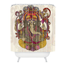 DENY Designs - Valentina Ramos Lord Ganesh Shower Curtain - Who says bathrooms can't be fun? To get the most bang for your buck, start with an artistic, inventive shower curtain. We've got endless options that will really make your bathroom pop. Heck, your guests may start spending a little extra time in there because of it!