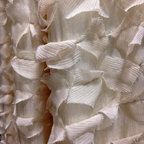 """Drapery Street - Feathery Silk, Cream, 130"""" long,  designer knife pleat - A soft flowing fabric that combines the beauty of silk with a feathery silk applique.  Available in 3 colors."""