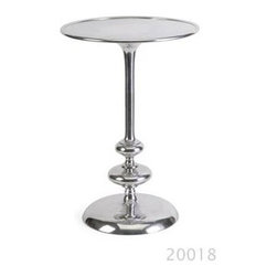 Imax Worldwide Home - Chesire Aluminum Side Table - Material: 100% Aluminum. 22.5 in. H x 15 in. D. Weight: 8.48 lbs.Once considered a precious metal, aluminum is sculpted into symmetric shapes once common to traditional furniture design to create the Chesire Aluminum Side Table