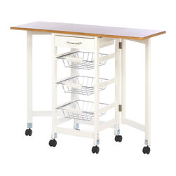 Gifts Galore - Kitchen Trolley Extended Table - Could your kitchen use some additional storage space and extra work space?  This is the perfect space-saving addition that gives you everything you need.  Three handy wire baskets slide out of the trolley along with a pullout drawer for the super storage , and when you need more flat work space, the table extensions on each side lift up to create a great table.  Some assembly required.