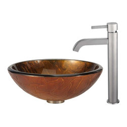 Kraus - Triton Glass Vessel Sink and Ramus Faucet in Satin Nickel - Includes mounting ring, umbrella pop-up drain, cover plate and hardware.