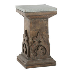 Kathy Kuo Home - French Country Aged Black Carved Wood Column Side Table - With a distressed black finish, this side table will add a bit of contrast to your decor. Hand carvings and a weathered tin top make this a perfect companion to your favorite chair.