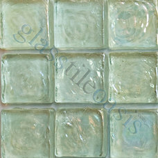 "Tropical Tile Aqua 3/4"" x 3/4"" Aqua 3/4"" Squares Glossy & Iridescent Glass"