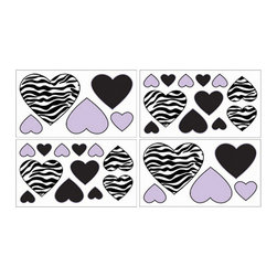 Sweet Jojo Designs - Zebra Purple Wall Decal Set of 4 Sheets by Sweet Jojo Designs - The Zebra Purple Wall Decal Set of 4 Sheets by Sweet Jojo Designs, along with the  bedding accessories.