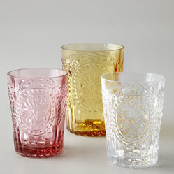 "Horchow - ""Fleur-de-Lis"" Glassware - Handcrafted glassware in Amber, Pink, or Clear. Select color when ordering. Dishwasher safe. Highballs, 4""T; hold 7.4 ounces. Juice glasses, 3.5""T; hold 5.7 ounces. Made in Portugal."