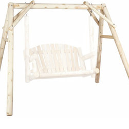 Rustic Cedar Garden Swing Frame Only - 4 ft American - Our 4' swing frame stand features traditional styling  a smooth-sanded surface  and rust-resistant coated hardware for years of enjoyment. Perfectly paired with your 4 ft garden swing (sold separately).