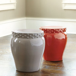 Ballard Designs - Serena Garden Seat - The graceful lotus shape of our Serena Garden Seat widens at the top, making it more comfortable as quick pull-up seating and more generous if you decide to use it as a side table. Crafted of high-fired ceramic with raised dot details.