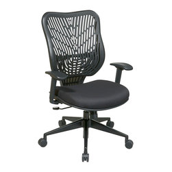 """Office Star - EPICC SpaceFlex Back Office Chair, Raven Back/Raven Mesh Seat - Unique self adjusting raven SpaceFlex back executive chair. Self adjusting SpaceFlex backrest support system with breathable raven mesh seat, one touch pneumatic seat height adjustment, 2-to-1 synchro tilt control with adjustable tilt tension control, height adjustable arms with forward/backwards adjustable PU pads, heavy duty angled gunmetal finish base with oversized dual wheel carpet casters. Seat height-(15.20-20.00), back dimension-20.5""""w x 22""""h.arms to floor max-24.50."""