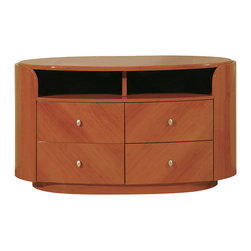 Global Furniture - Global Furniture USA Emily 4-Drawer Entertainment Unit in Cherry - The Emily Bedroom collection is finished in a High Gloss Cherry. The rich color and elegant curves will compliment any home. Not only is this bedroom collection stylish but it also provides ample storage.
