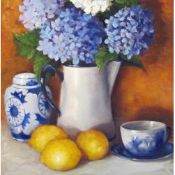 """Blue Hydrangea And Lemons Still Life"" (Original) By Cheri Wollenberg - -Blue Hydrangea And Lemons Is A Complementary Themed Still Life Featuring Blues, Yellows, Rusty Oranges And The Beautiful Flower, Hydrangea."