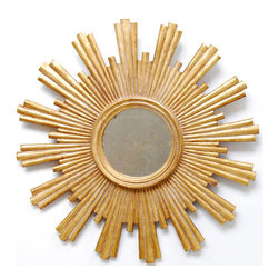 "Worlds Away - Worlds Away Josephine Gold Leaf Starburst Mirror - Art Deco influence emanates from the stylized rays of Worlds Away's Josephine starburst mirror. Its iconic frame finished in gold leaf, this glam wall accent brings vintage appeal wherever it hangs. 28"" Dia x 2""D. Hand carved wood frame. Antique mirror."