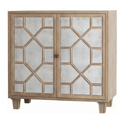Arteriors Home - Arteriors Home Remington Antique Mirror Low Cabinet - Arteriors Home 5236 - Arteriors Home 5236 - This stylish, low cabinet from Arteriors Home's Remington collection features antique mirror details in a geometric pattern on the doors. Distressed oak finish gives this piece a subtle, elegant feel. Two adjustable interior shelves and a cord management hole make this the perfect piece for media. Great cabinet to complement contemporary or transitional dcor. Smaller size makes it ideal for tight spaces.