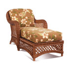 WickerParadise - Lanai Chaise Brown Wicker Furniture - The next best thing to a ticket to paradise? This lounger, inspired by the sort of piece you'd find on a Hawaiian lanai. Plus, lush cushions in a tropical floral print rests within a sturdy wicker frame. Settle in, lean back and enjoy!