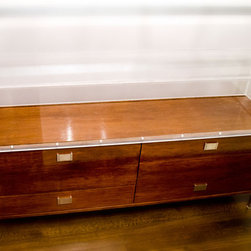 Open Square: Architecture & Interior/Industrial Design - Acrylic Display Buffet - Chestnut venereed engineered wood body and clear acrylic/plexiglass display case