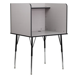 Flash Furniture - Study Carrel with Adjustable Legs and Top Shelf in Nebula Grey Finish - This adjustable study carrel by Flash Furniture can be used in a variety of environments for both students and adults. The solitude of a study carrel makes this the perfect option for libraries/ computer lABS/ training lABS or any other environment where individual concentration is required. This floor carrel features a large work surface to accommodate a computer monitor or laptop with room for books and paperwork and extra items can be placed on the top shelf. The adjustable legs make this ideal for all grade levels to adjust from elementary to high school sized children.