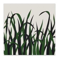 """Graphilia - """"Grasses"""" by Victor Langer 1973 Original Vintage Serigraph -Green - Original 1973 serigraph by Victor Langer."""