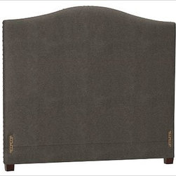 """Raleigh Nailhead Camelback Headboard, King, Velvet Dark Heather Gray - Crafted by our own master upholsterers in the heart of North Carolina, our upholstered bed and headboard is available in a graceful camelback silhouette. Crafted with a kiln-dried hardwood frame. Headboard, footrail and siderails are thickly padded and tightly upholstered with your choice of fabric. Nailhead detail trims the outer edges of the headboard. Exposed block feet have a hand-applied espresso finish. Headboard also available separately. The headboard-only option is guaranteed to fit with our PB metal bedframe using the headboard hardware. Bed is designed for use with a box spring and mattress. This is a special-order item and ships directly from the manufacturer. To see fabrics available for Quick Ship and to view our order and return policy, click on the Shipping Info tab above. This item can also be customized with your choice of over {{link path='pages/popups/fab_leather_popup.html' class='popup' width='720' height='800'}}80 custom fabrics and colors{{/link}}. For details and pricing on custom fabrics, please call us at 1.800.840.3658 or click Live Help. View and compare with other collections at {{link path='pages/popups/bedroom_DOC.html' class='popup' width='720' height='800'}}Bedroom Furniture Facts{{/link}}. Crafted in the USA. Full: 57.5"""" wide x 83.5"""" long x 59"""" high Queen: 64.5"""" wide x 88.5"""" long x 59"""" high King: 80.5"""" wide x 88.5"""" long x 59"""" high Cal. King: 74.5"""" wide x 92.5"""" long x 59"""" high Full: 57.5"""" wide x 4.5"""" thick x 59"""" high Queen: 64.5"""" wide x 4.5"""" thick x 59"""" high King: 80.5"""" wide x 4.5"""" thick x 59"""" high Cal. King: 74.5"""" wide x 4.5"""" thick x 59"""" high"""