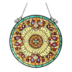 None - Tiffany Style Victorian Motif Round Window Panel - This Tiffany style Victorian design round Window Panel will add color and beauty to any room. Hand made from over 585 hand cut pieces of art glass,this panel catches the light in brilliant tones of yellow,amber,blue,and green.