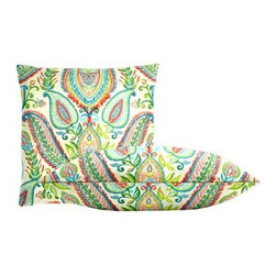 """Cushion Source - Ombre Paisley Poppy Throw Pillow Set - The Ombre Paisley Poppy Throw Pillow Set consists of 18"""" x 18"""" cotton throw pillows featuring a brushstroke paisley print in coral, pink, cerulean, lime, and chartreuse on a white background."""