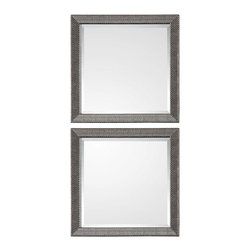 Uttermost - Uttermost 14608 Allia Silver Accent Wall Square Mirrors - Set of 2 - Basket Weave Detail in Silver w/ Gray Wash