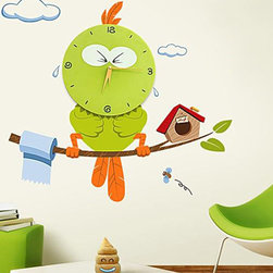Green Big Wall Clock with Wall Stickers, Kids Wall Clock - This clock is made for kinds. The bird is so lovely and wall stickers are included.