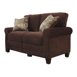 """Serta by True Innovations - Serta Trinidad Love Seat in Chocolate Fabric - Serta by True Innovations - Loveseats - CR43528PB - For more than 75 years Serta has been an industry leader in comfort products worldwide. That tradition of innovation and quality continues today. From a brand that is synonymous with quality comfort and style the Serta Trinidad Collection Love Seat offers many attractive features that you're going to love. Starting with its Tool-free EZ assembly which is the most convenient and stress free on the market today. This product goes from box to built in mere minutes. But that's just the beginning this love seat is generous and comfortable as well. In fact you might find it a great place for a nap! Here's why: Starting from the ground up you have a solid stance on real wood legs. Next the lower foundation is constructed with hardwood materials and the tried and true method of mechanically fastened and glued hardwood plywood corner blocks that reinforce the frame and sturdiness along with scroll style arms with corrugated reinforced outer-sides. Attached to that are heavy-duty 8 gauge anti-sag sinuous springs secured and joined with a double row of tie wire. This forms a comfortable supportive and lasting seating structure. Resting upon this are seat cushions with rows of individually pocketed comfort coils surrounded by high density seating foam and premium quality poly-fibers on top. This cushion system forms the basis of our """"sit down and sink in"""" feel. Behind that you have the upper structure which consists of more hardwood material and a matrix of non-woven strapping that form a dense and sturdy back structure. In front of that are the pillowed back cushions. These consist of an inner poly-fiber core contained in a non-woven cover to help maintain shape and density. Wrap the whole thing in a lush and luxurious 100% polyester Chocolate Fabric and you have a gorgeous piece for any living space. 1 year limited warranty. Product assembly is requir"""