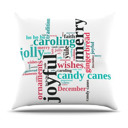 """Kess InHouse - Sylvia Cook """"Holiday Traditions"""" Christmas Typography Throw Pillow (Outdoor, 16"""" - Decorate your backyard, patio or even take it on a picnic with the Kess Inhouse outdoor throw pillow! Complete your backyard by adding unique artwork, patterns, illustrations and colors! Be the envy of your neighbors and friends with this long lasting outdoor artistic and innovative pillow. These pillows are printed on both sides for added pizzazz!"""