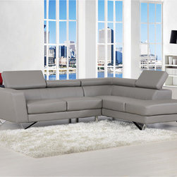 Delia Grey Bonded Leather Modern Sectional Sofa Set -