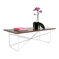 Moderncre8ve - The Miami- Midcentury Modern Walnut and Steel Coffee table. - Original Design.
