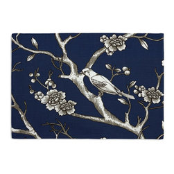 Blue Modern Chinoiserie Custom Placemat Set - Is your table looking sad and lonely? Give it a boost with at set of Simple Placemats. Customizable in hundreds of fabrics, you're sure to find the perfect set for daily dining or that fancy shindig. We love it in this dark blue & white modern chinoiserie print with blossoms & birds branching out across a soft lightweight cotton.
