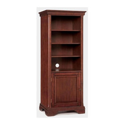 HomeStyles - Pier Cabinet in Cherry Finish - Three adjustable shelves. Reversible bottom door. One adjustable shelf in bottom cabinet. Hung to open from either side. Wire management opening in back. Poplar hardwoods and cherry veneers. 24 in. W x 18.25 in. D x 60 in. H. Assembly InstructionsThe Lafayette Pier Cabinet is a crucial piece that completes the finished look of the Lafayette Entertainment Wall. Multi-step cherry finish including a clear coat finish to help protect against wear and tear stemming from normal use.