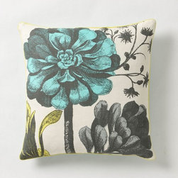 Zinnia Stalk Pillow - Love the simplicity and graphic style, with a touch of turquoise and a zinnia.