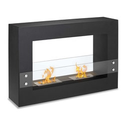 """Ignis Fireplaces - Ignis Tectum Fireplace - Make a bold statement in your home decor by installing this clean-burning Tectum Freestanding Ventless Ethanol Fireplace. The decorator in you will love the streamlined look of its black frame and its clear glass shield. It has a dual burner design so it throws up to 12 000 BTUs of warm inviting heat your way. This ventless fireplace requires no chimney no gas lines and no electric lines yet offers some of the warmest heat you'll ever experience. Use it anywhere that you want to make a big impression. Each refill of ethanol burns for around five hours in this unit. Dimensions: 47.1"""" x 31.5"""" x 11""""."""