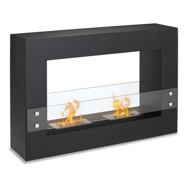 "Ignis Fireplaces - Ignis Tectum Fireplace - Make a bold statement in your home decor by installing this clean-burning Tectum Freestanding Ventless Ethanol Fireplace. The decorator in you will love the streamlined look of its black frame and its clear glass shield. It has a dual burner design so it throws up to 12 000 BTUs of warm inviting heat your way. This ventless fireplace requires no chimney no gas lines and no electric lines yet offers some of the warmest heat you'll ever experience. Use it anywhere that you want to make a big impression. Each refill of ethanol burns for around five hours in this unit. Dimensions: 47.1"" x 31.5"" x 11""."
