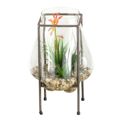 D&W Silks - D&W Silks Blooming Succulent, Aloe And Mini Dracaena In Glass Bubble Vase - Blooming succulent, aloe and mini dracaena in glass bubble vase