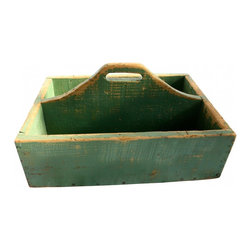 "Wood Carrier - Great vintage carrier or tool box in original green paint.  These are perfect for storing magazines, books, garden supplies, herb pots....the list is endless.  This carrier measures 20"" x 15"" x 11"" high."