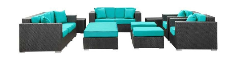 Modway - Eclipse 9 Piece Sofa Set in Espresso Turquoise - Achieve cosmic aptitude with this empirically abundant outdoor living set. Discover more than the eye can see with Eclipse's radiant turquoise all-weather cushions and espresso rattan base. Leave an impression on your surrounding and contemplate the incredible as you triumph on the pathway to new perspectives.