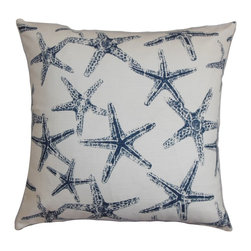 The Pillow Collection - Ilene Coastal Pillow Navy Blue - Sea creatures adorn this fresh and nautical-inspired throw pillow. The star fish pattern combines well with the white-hued background. This sleek accent pillow adds a splash of color to your interiors with its navy blue print. Mix and match with complementary color to liven up your space in an instant. Made of 100% high-quality cotton fabric. Hidden zipper closure for easy cover removal.  Knife edge finish on all four sides.  Reversible pillow with the same fabric on the back side.  Spot cleaning suggested.