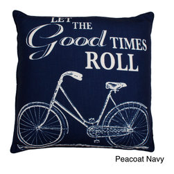 Thro - Let The Good Times Roll 20-inch Feather Fill Throw Pillow - Highlighting a faux linen fabric cover and a soft feather fill, the 'Let The Good Times Roll' decorative pillow is sure to add contrast to any room decor. This 20-inch throw pillow also offers a removable cover and a knife edge design.