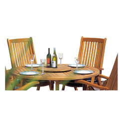 Westminster Teak Furniture - Barbuda 5pc Folding Teakwood Furniture Dining Set - Timeless style. Premium workmanship. Sustainable materials, make this teak garden set a beautiful and portable Teak outdoor dining set, which includes four Westminster Teak Montecarlo Recliners and one Barbuda Folding Teak table that all fold easily for storage. Comes FULLY assembled!