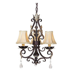 "Frontgate - Castlewick 3-light Mini Chandelier - 3-arm chandelier provides ideal ambient lighting. Silver mist cloth shades coordinate with any decor. Walnut finish with silver highlights. Accented with faceted glass crystals. 72"" chain and cord can be adjusted to fit any ceiling height. Designed to add charm to even small spaces, the petite Castlewick chandelier elegantly lights a sitting area, bathroom, or breakfast nook to perfect ambiance. Faceted glass crystals and silver leaf accents add interest to the walnut-finished frame. . . .  . Requires three 40W candelabra base lamps (not included)Hardwire; professional installation recommended. . Clean with a soft cloth."