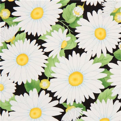 black daisy flower fabric by Timeless Treasures USA - designer flower fabric with many big white daisies from the USA