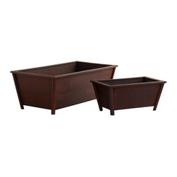 "Nearly Natural - 2-Pc Rectangular Planters - Classic shape. Made from wood. Brown finish. Small: 12 in. L x 7 in. W x 5.5 in. H. Large: 20 in. L x 10.5 in. W x 7 in. HHere's a beautiful set of planters that are ready to accept anything you wish to put in them. There are two sizes with your planter, and its ""big brother"" or sister. These are ideal for silk or artificial plants, magazines, faux fruit, or anything else ,hey, they even look great empty."