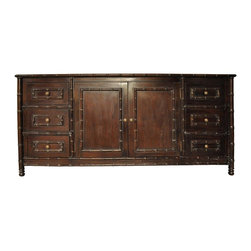 Noir - Noir - Bamboo Flat Screen TV Console, Hand Rubbed Brown - Hand Rubbed Brown Mahogany Wood