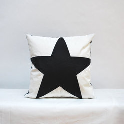 Nautical Recycled Sail Accent Throw Pillow - Black Star by Reiter8