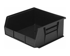 """Akro-Mils - Black Stackable Storage Bins, 5""""- Set of 6 - AkroBins optimize your storage space. Control inventories, shorten assembly times and minimize parts handling. Heavy-duty polypropylene bins hang from Akro-Mils racks, panels, rails, and carts; securely stack atop each other and sit on shelving. AkroBins are unaffected by weak acids and alkalis. Sturdy, one-piece construction is water, rust and corrosion proof and guaranteed not to break. Autoclavable up to 250Degrees F."""