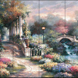 The Tile Mural Store (USA) - Tile Mural - Jl - Classic Garden Retreat - Kitchen Backsplash Ideas - This beautiful artwork by James Lee has been digitally reproduced for tiles and depicts colorful flowers next to a flowing stream  This garden tile mural would be perfect as part of your kitchen backsplash tile project or your tub and shower surround bathroom tile project. Garden images on tiles add a unique element to your tiling project and are a great kitchen backsplash idea. Use a garden scene tile mural for a wall tile project in any room in your home where you want to add interesting wall tile.