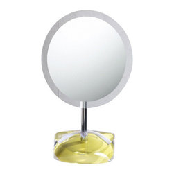 Gedy - Magnifying Mirror with Round Avocado Green Colored Base - Decorative pedestal magnifying mirror with semi-transparent avocado green thermoplastic base. Pedestal magnifying mirror. Base is made of thermoplastic resins. Avocado green colored base. From the Gedy Twist Collection.