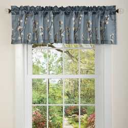 Lush Decor - Lush Decor Blue Cocoa Flower Valance - Constructed of faux silk with floral embroidery,this valance is a lovely touch to any decor.  This window treatment features a rod pocket design for easy installation. Full lining provides extra privacy.